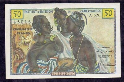 50 Francs From French West Africa French Colony Unc