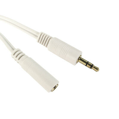 1.2m 3.5mm Jack Plug to Socket AUX Headphone Extension Cable Lead GOLD WHITE