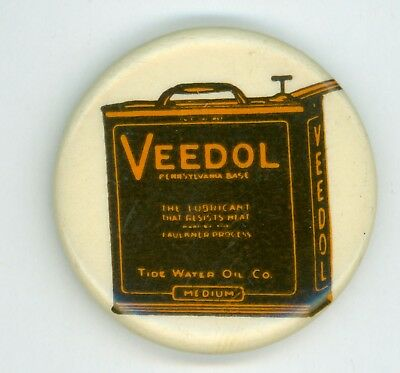 Vintage 1900s Veedol Oil Can Advertising Pinback Button