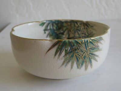 Fine Old Japanese Satsuma Pottery Bird & Bamboo Trees Decorated Bowl SIGNED