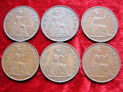 Lot of 6 English Large Penny's 1935, 1936, 1937, 1938, 1939 & 1940! NICE COINS!