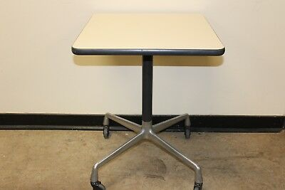 Vintage Mid Century Herman Miller Eames side end Table w Wheels Aluminum group