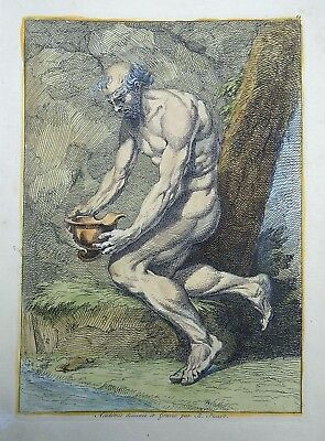 1734 B. PICART designed and engraved - Male Nude Study - hancolored large folio