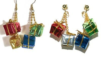 COLORFUL FOIL CHRISTMAS PRESENTS PIERCED or CLIP ON DANGLE EARRINGS (H008)