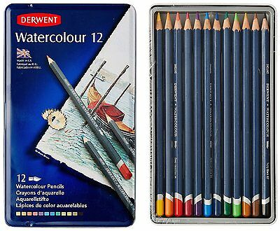 Derwent 12 Watercolour Pencils - Water Colour Colouring Pencils in Tin