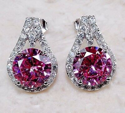 2CT Pink Sapphire & Topaz 925 Solid Genuine Sterling Silver Earrings Jewelry