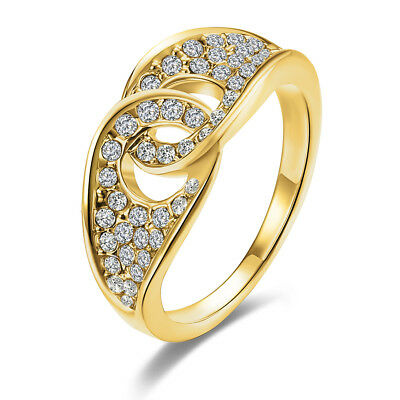 Classic 18k 18CT Yellow Gold Filled GF Ring Weddin CZ Woman ring Size7, 8 R-A338