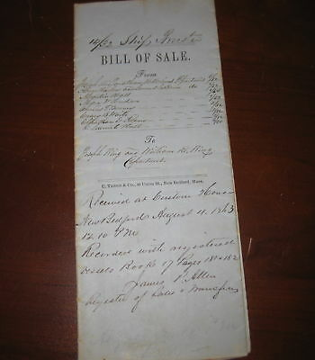 Original 14/32 Bill of Sale Whaling Ship Bark Brewster New Bedford 1863 Wing