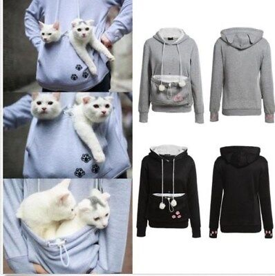 Women's Kangaroo Pet Dog Cat Holder Carrier Coat Pouch Large Pocket Hoodie Tops