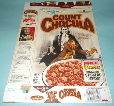 1981 General Mills Count Chocula Cereal Box with Universal's Dracula on Front