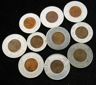 12x 1940s Encased Lincoln Wheat Cent Good Luck Tokens