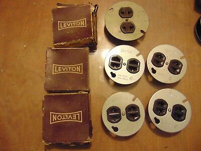 Lot of 8 vintage leviton wall outlet with metal box plate 2-prong lot 2