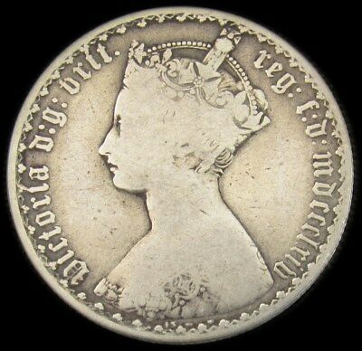 1864 Great Britain Gothic Florin - KM# 746.3 PG 545 - ASW .336 oz. - VG/F