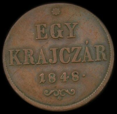 1848 Hungary 1 Krajczar (War of Independence Coinage) -KM. 430.1 PG 1694 - VF+ -