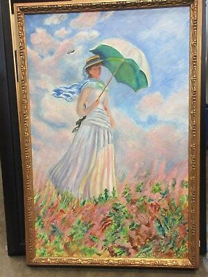 *Local Pickup Only* Official Louvre Copy by M Langlet of Monet Oil Painting 1965