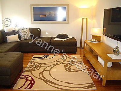 Beige Cream Brown Modern Floor Rug Carpet Extra Large FREE DELIVERY 330 x 240