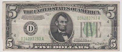 1934 $5 Five Dollars Us Federal Reserve Green Seal Note Circulated 793A