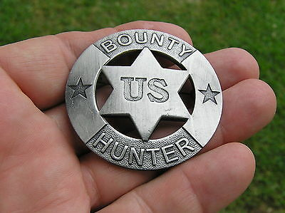 BOUNTY HUNTER BADGE - HIGH QUALITY Antique Silver - Marshal Sheriff