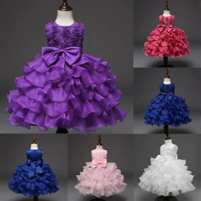 Kids Girl Flower Birthday Wedding Bridesmaid Pageant Princess Formal Dress 1-10T