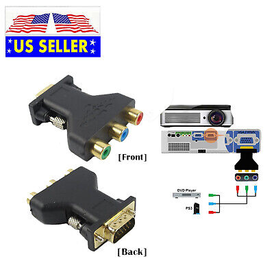 3 RCA RGB YPbPr Female To HD 15-Pin VGA Component Video Jack Adapter Converter