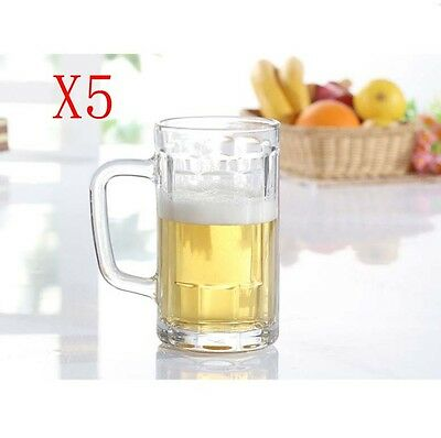 New 5X Capacity 500ML Height 158MM With A Handle Beer Wine Glass/Glassware %