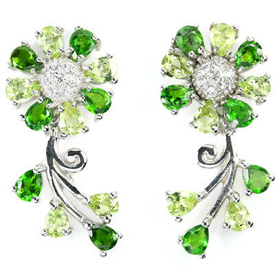 Real Green Chrome Diopside, Peridot & Whie Cz Sterling 925 Silver Flower Earring