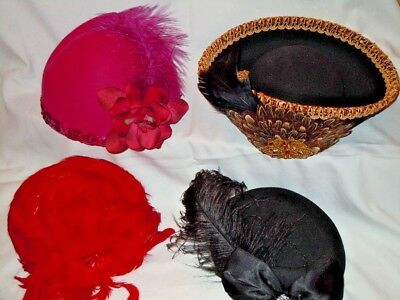 Lot of 4 Vintage Women's Hats Felt Wool, Red Feather Hat, Black Hat, Pink Hat...