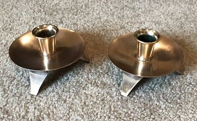 Vintage MID CENTURY Copper Brass VOGUE Candle Holders Pair Set