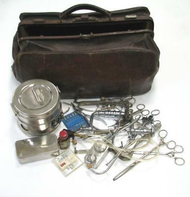 Antique Surgical Doctor Bag Over 20 Instruments Tools Stethoscope Retractor