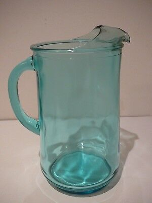 Vintage Anchor Hocking Blue Water Pitcher Jug 25cms tall Parties Retro