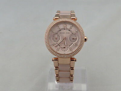 Michael Kors Mk6110 Ladies Parker Watch Two Tone Crystal Bezel Pvd Rose Plated