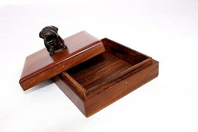 A Vintage Wooden Stamp Box with a Bronze Brass Metal Bulldog sitting on the Lid!