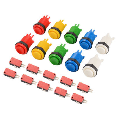 6 Pcs Long Length Arcade Game HAPP Style Push Button for Mame and Jamma HM