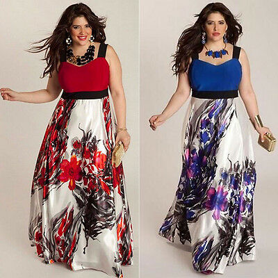 Women Plus Size Sleeveless Floral Long Maxi Dresses Evening Party Cocktail Dress
