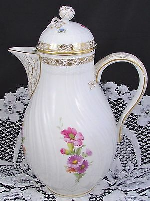 Kpm Berlin Early 20Th Century Hp Floral Large Coffee Pot Or Teapot