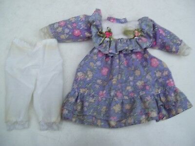 Alte Puppenkleidung Violet Flowery Dress Outfit vintage Doll clothes 30 cm Girl