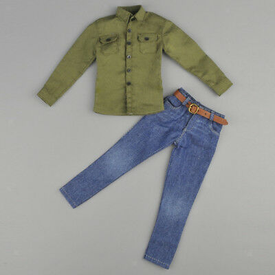 """1/6 Army Green Shirt Jeans Belt Clothes Set For 12"""" Hot Toys Action Figure"""