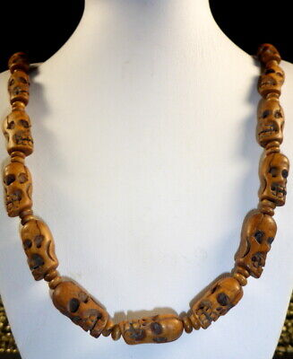 Very Fine Quality Tibetan Hand Carved Yak Bone Skull Bead Necklace. Adjustable.