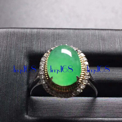 18K Gold 100% Natural A Jadeite Green egg noodles Ring Women Jewelry JD1302