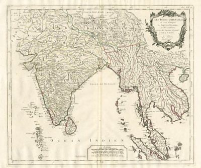 """Les Indes Orientales…"" South Asia India Indochina. SANTINI / VAUGONDY 1784 map"
