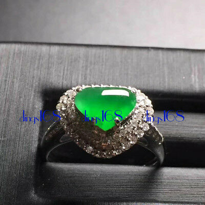 18K Gold Certified 100% Natural A Jadeite Green Heart Love Ring Jewelry JD1313
