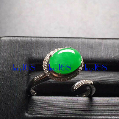 18K Gold 100% Natural A Jadeite Green egg noodles Ring Women Jewelry JD1322