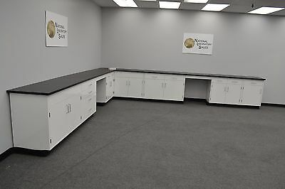 . 17′ x 15′ Fisher American Base Laboratory Cabinets / Case WorK/Benches/Tops