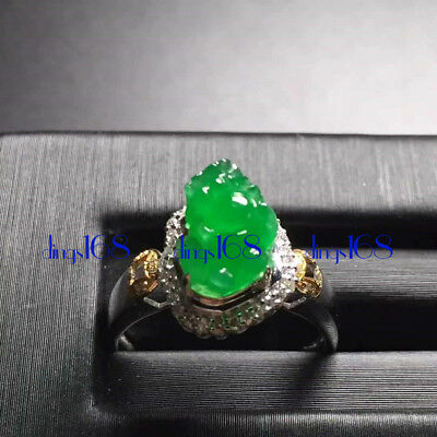 18K Gold Certified 100% Natural Jade a mythical wild animal Ring Jewelry JD1328
