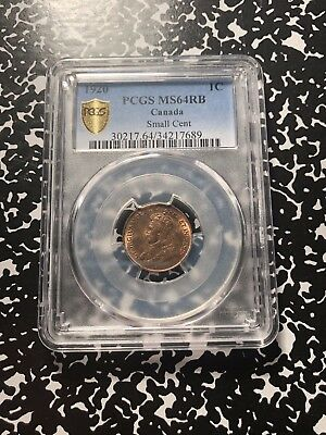 1920 Canada Small Cent PCGS MS64 Red Brown Lot#G493 Nice Color!