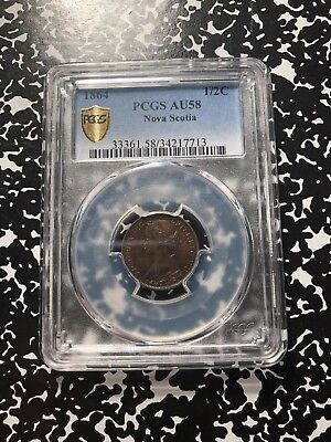 1864 Nova Scotia 1/2 Cent PCGS AU58 Lot#G496 Nice Example!