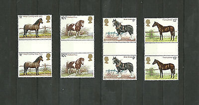 Great Britain 1978 Horses Gutter Pair Unfolded MNH