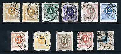 SWEDEN 1872 First Issue Perf 14 Part Set SG 16Aa to SG 26A VFU