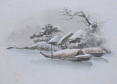 BOATS MOORED IN SNOW III Original Vintage Japanese Postcard Sized Brush Painting