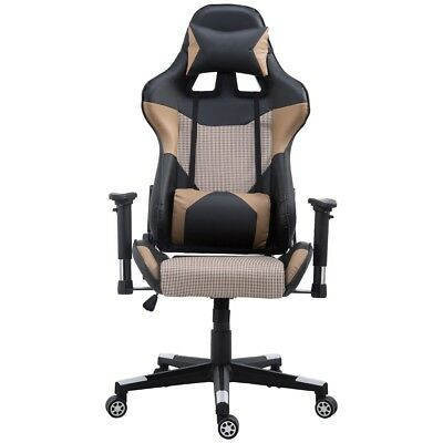 Gaming Racing Chair Home Office Brown High Back PU Leather W/ Lumbar Support